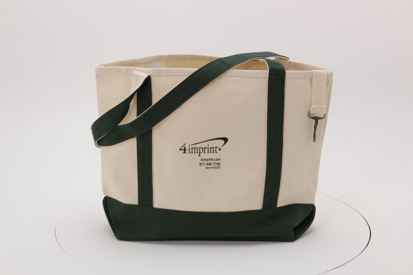 Two-Tone Accent Gusseted Tote Bag 360 View