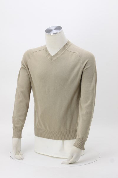 Cotton Wrinkle Resist V-Neck Sweater - Men's 360 View