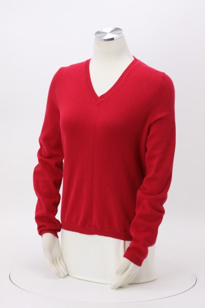 Cotton Wrinkle Resist V-Neck Sweater - Ladies' 360 View