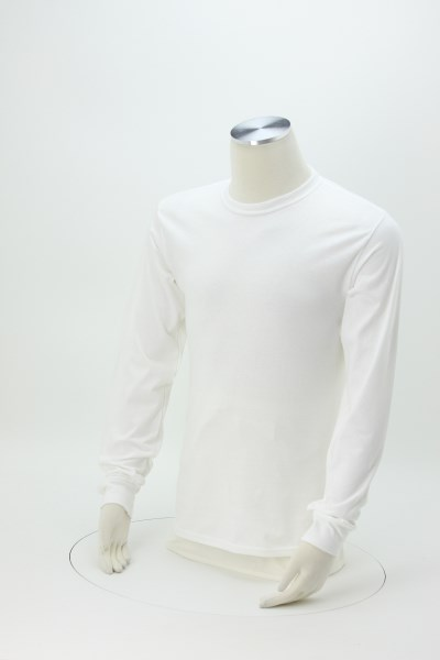 Hanes Tagless LS T-Shirt - Screen - White 360 View
