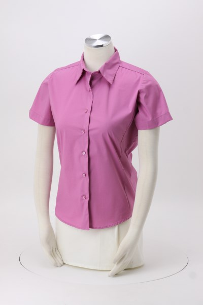 Easy Care Short Sleeve Stretch Poplin Blouse - Ladies' 360 View