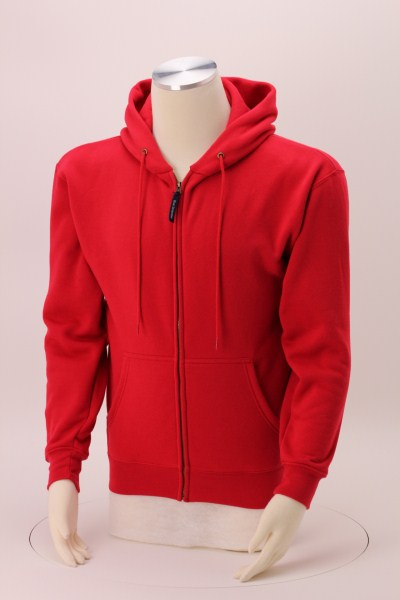 Cotton Rich Zip Front Hoodie - Embroidered 360 View