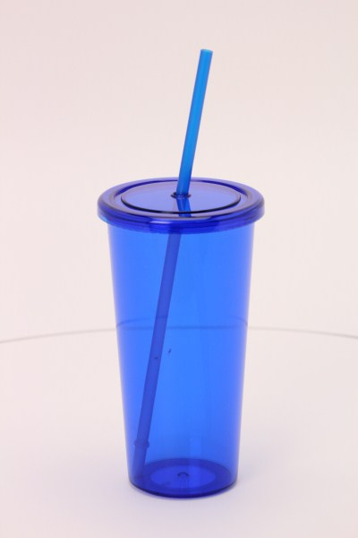 Sizzle Single Wall Tumbler with Straw - 24 oz. 360 View