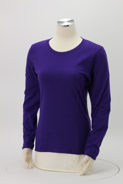 Gildan 5.3 oz. Cotton LS T-Shirt - Ladies' - Screen - Colors 360 View