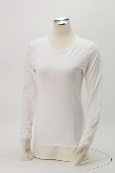 Gildan 5.3 oz. Cotton LS T-Shirt - Ladies' - Screen - White 360 View