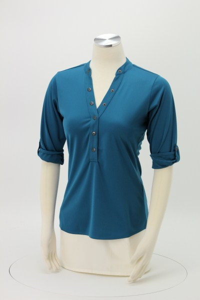 OGIO Poly Interlock Stay-Cool Henley - Ladies' 360 View