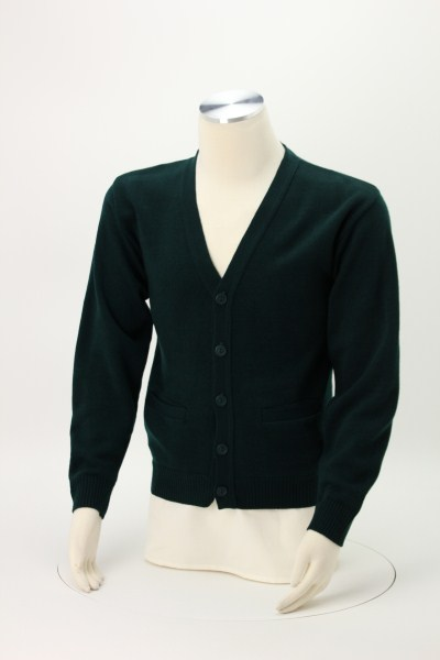 Acrylic V-Neck Cardigan with Pockets - Men's 360 View