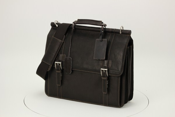 Kenneth Cole Colombian Leather Dowel Laptop Bag 360 View