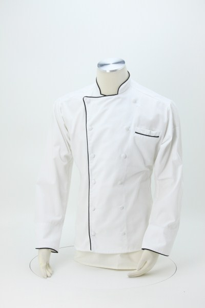 Twelve Cloth Button Chef Coat with Black Trim 360 View