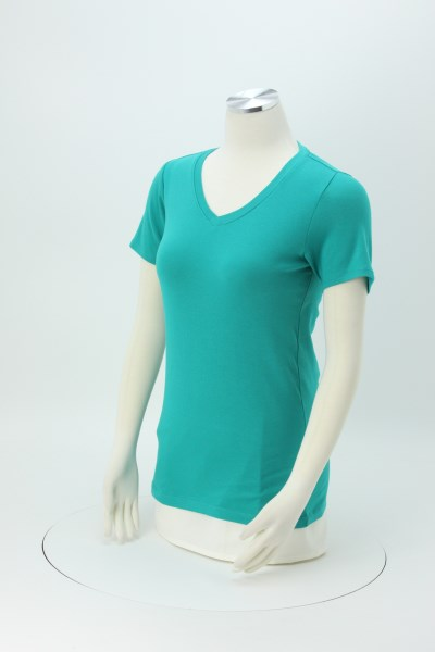 Soft Stretch V-Neck Tee - Ladies' 360 View