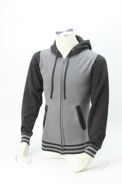 Independent Trading Co. Varsity Full-Zip Hoodie - Embroidered 360 View