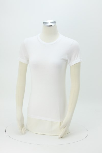 American Apparel Fine Jersey T-Shirt - Ladies' - White - Screen - USA Made 360 View