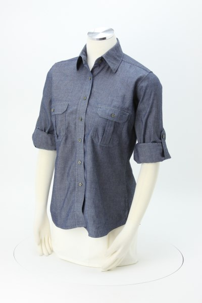 Chambray Roll Sleeve Double Pocket Shirt - Ladies' 360 View