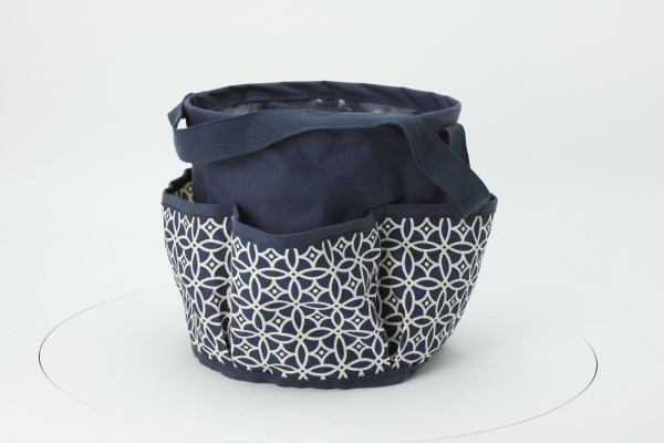 Round Multi-Pocket Utility Tote - Sailing Compass 360 View