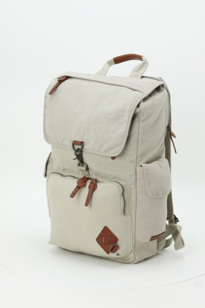 Alternative Deluxe Cotton Laptop Rucksack Backpack - Embroidered 360 View