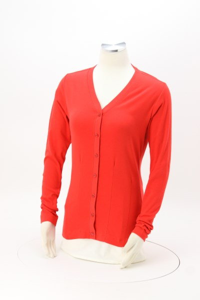 Stretch Cotton Button Front Cardigan 360 View