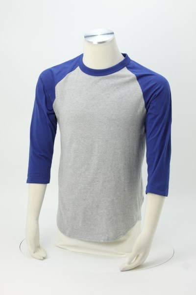 Colorblock 3/4 Sleeve Cotton Baseball T-Shirt 360 View