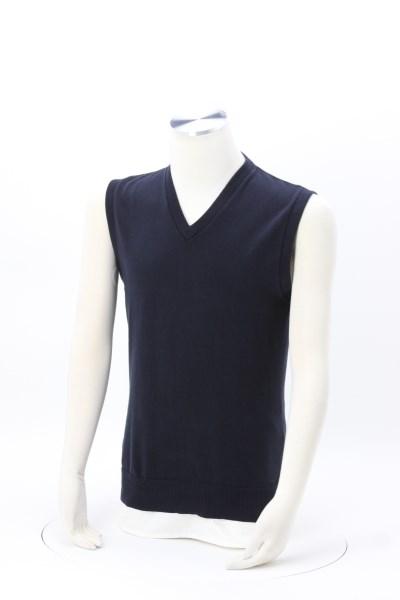 Fine Gauge Cotton Blend V-Neck Sweater Vest 360 View