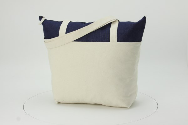 Jute and Cotton Zippered Tote 360 View