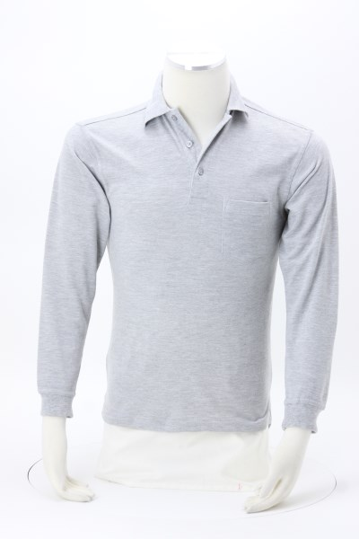 Smooth Touch Blended LS Pocket Pique Polo - Men's 360 View