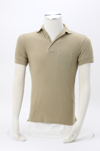 Smooth Touch Blended Pocket Pique Polo - Men's 360 View