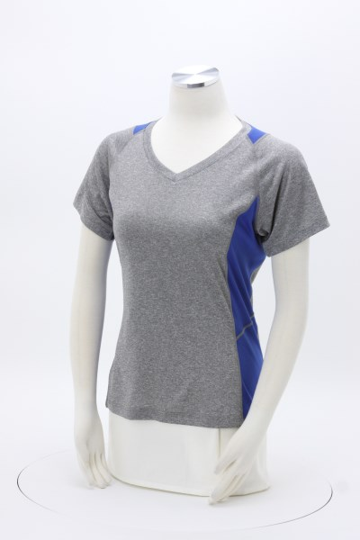 Heather Challenger V-Neck Colorblock Tee- Ladies' - Screen 360 View