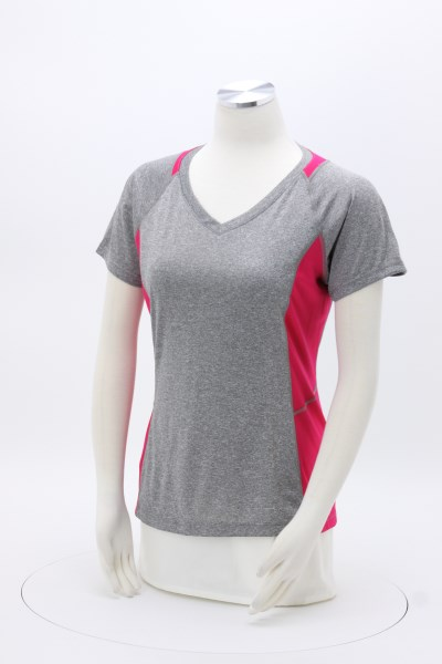 Heather Challenger V-Neck Colorblock Tee - Ladies' - Embroidered 360 View