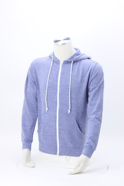 French Terry Snow Heather Full-Zip Hoodie - Screen 360 View