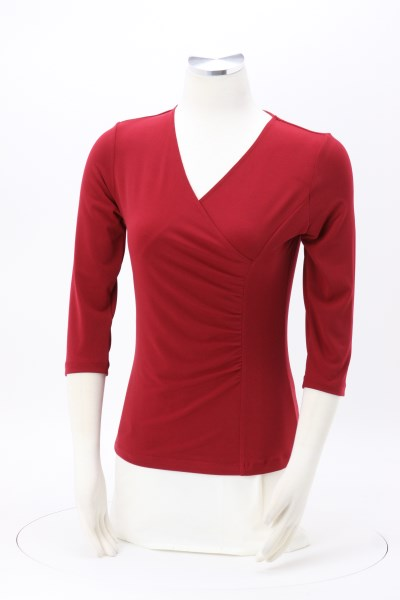 Crossover 3/4 Sleeve Knit Top 360 View