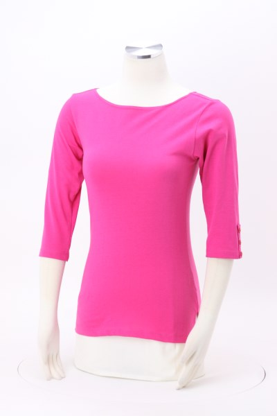 Cypress Boat Neck 3/4 Sleeve Knit Shirt 360 View
