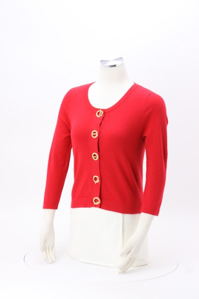 Vivienne 3/4 Sleeve Crop Cardigan Sweater 360 View
