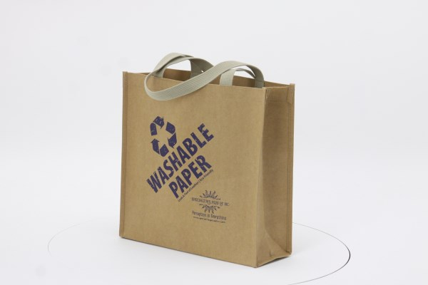 Washable Kraft Paper Fabric Shopper Tote - 13 inches x 13 inches 360 View