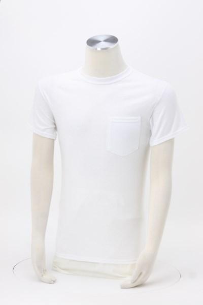 Gildan 5.3 oz. Cotton T-Shirt with Pocket - Men's - White 360 View