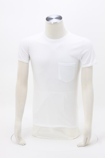 Anvil Ringspun 4.5 oz. Pocket T-Shirt - Men's - White 360 View