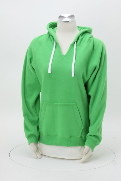 J. America Sueded V-Neck Hoodie - Ladies' - Embroidered 360 View