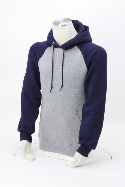 Russell Athletic Dri-Power Colorblock Raglan Hoodie - Embroidered 360 View