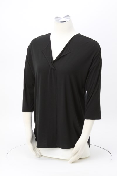 Soft Split Neck 3/4 Sleeve Top 360 View