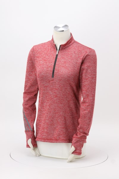 adidas 3 Stripe Brushed Heather 1/4-Zip Pullover - Ladies' 360 View