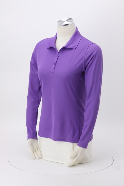 Ice Performance Pique Long Sleeve Polo - Ladies' 360 View