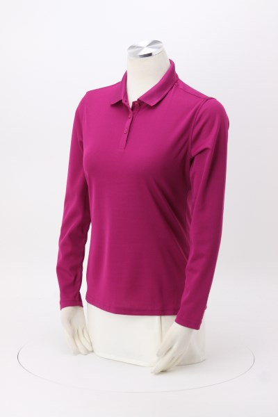 Spin Dye Long Sleeve Pique Polo - Ladies' 360 View