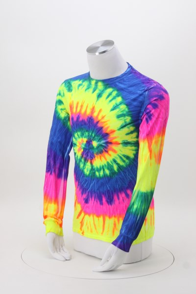4imprint Com Tie Dye Long Sleeve T Shirt Two Tone Spiral Screen
