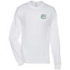 Hanes Tagless LS T-Shirt - Embroidered - White