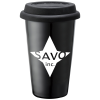 Double Wall Ceramic Tumbler with Colored Lid - 11 oz.