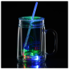 View Image 1 of 11 of Light-Up Mason Jar with Straw - 18 oz.