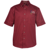 View Image 1 of 3 of Harriton Twill SS Shirt with Stain Release - Men's
