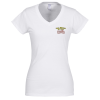 Gildan Softstyle V-Neck T-Shirt - Ladies' - White - Embroidered