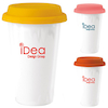 Double Wall Ceramic Tumbler with Lid - 11 oz.