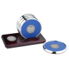Four Coasters with Medallion Solid Cherry Stand-Round Medallion