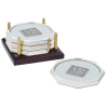 Four Octagon Coasters with Solid Cherry Tray - Square Medallion