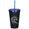 Matte Rubberized Tumbler with Straw - 16 oz.